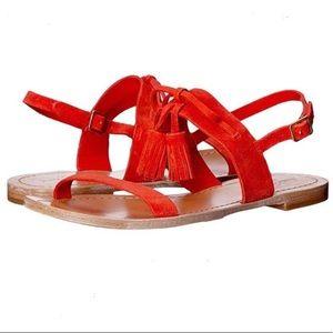 NWOB Kate Spade Carlita Red/Orange Tassel Sandals